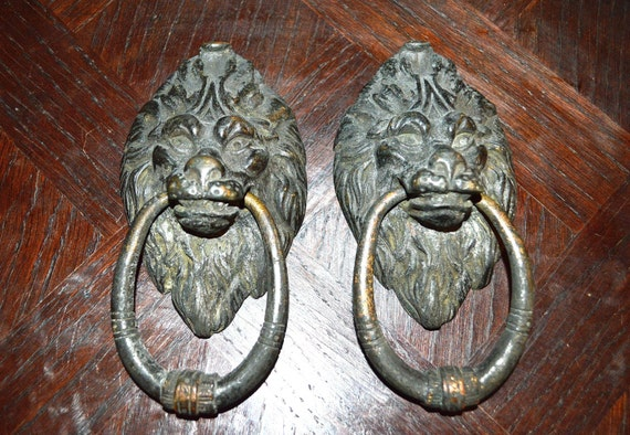 Antique english lion head door knockers or large drawer pulls - Large lion head door knocker ...