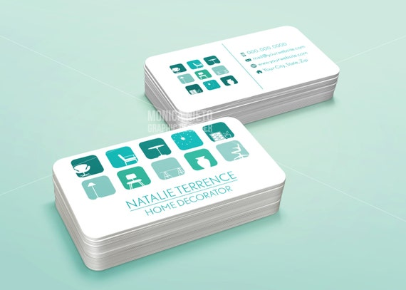 Printable home decorator business card template interior for Party business card ideas