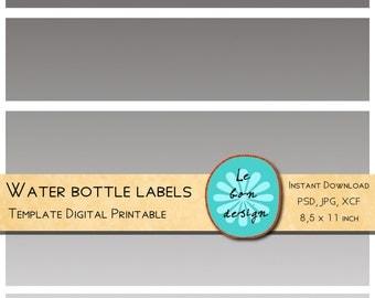 Water bottle Template Diy label making for party digital collage sheet jpg, psd, gimp file instant download
