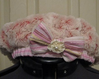 Girls Toddler Boutique Pink Rose Minky Hat