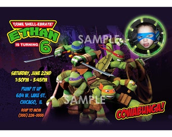 Teenage Mutant Ninja Turtles Invitation - Printable TMNT Birthday Party Invite - Custom Personalized You-Print Digital Photo Card 4x6 or 5x7