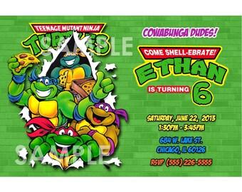 TMNT Invitation - Printable Teenage Mutant Ninja Turtles Birthday Party Invite - Custom Personalized You-Print Digital Photo Card 4x6 or 5x7