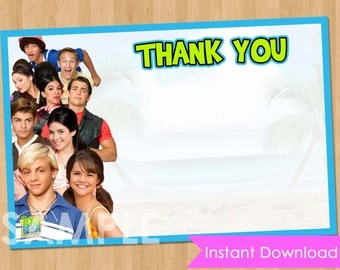 Teen Beach Movie Thank You Card - INSTANT DOWNLOAD Printable Personalized Thank You Note matches Birthday Invitation Party Supplies