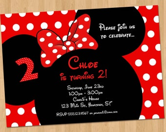 Minnie Mouse Invitation - Printable Birthday Party Custom Personalized Digital Invite 4x6 or 5x7 Card - Ears Red, Hot Pink, or Light Pink