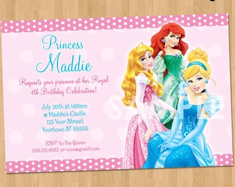 Princess Invitation Disney Princess Invitation Birthday - Custom ariel birthday invitations