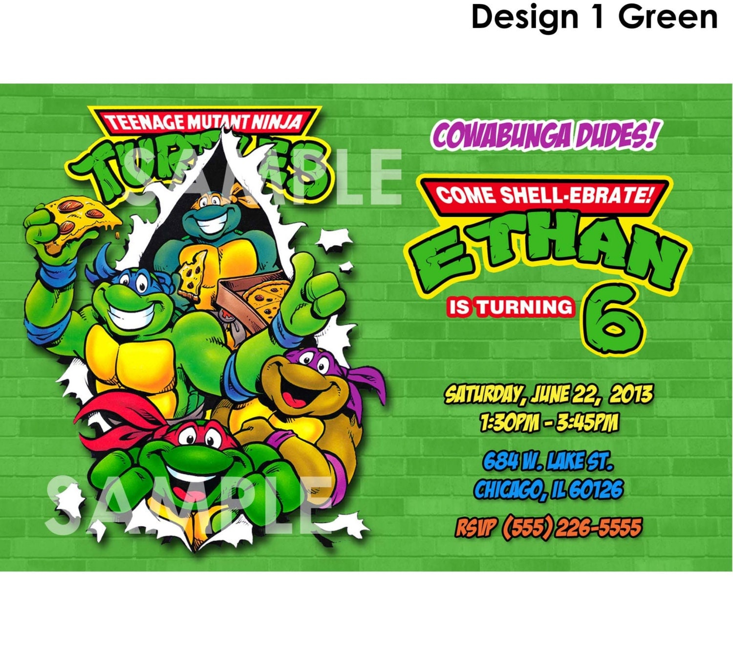 TMNT Invitation Printable Teenage Mutant Ninja Turtles