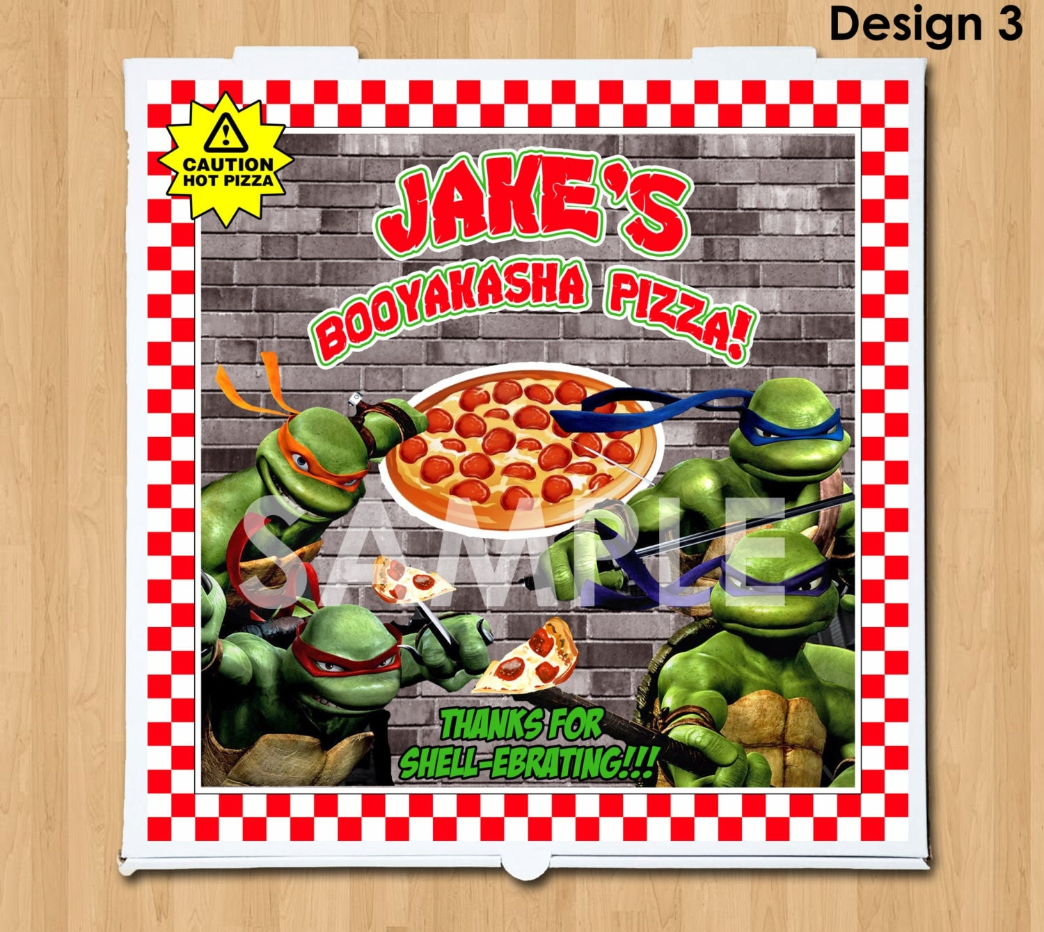 TMNT Pizza Box Label Printable Personalized Teenage Mutant