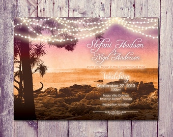 Printed Card | 50-75 Sets | Sunset Beach Wedding Invitation and Reply Card Set - Wedding Stationery - ID301