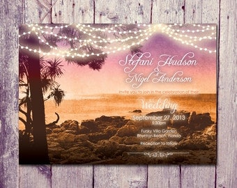 Printed Card | 40-75 Sets | Sunset Beach Wedding Invitation and Reply Card Set - Wedding Stationery - ID301
