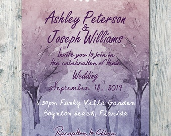Digital - Printable Files - Garden Ceremony Wedding Invitation and Reply Card Set - Wedding Stationery - ID355
