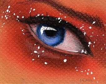 Original ACEO eye drawing 'Blueberry Pie'