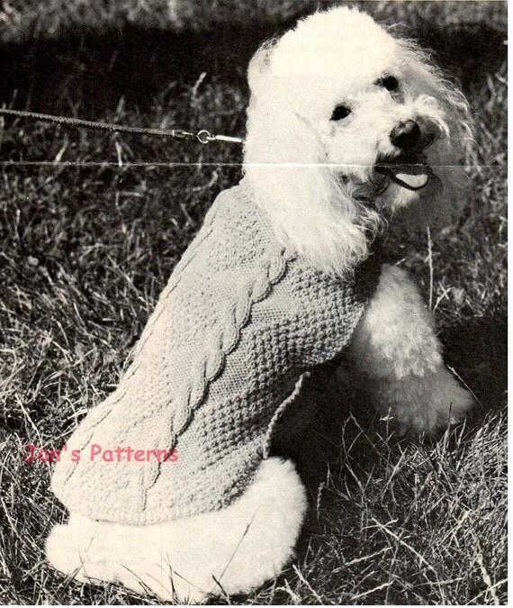 Vintage Dog Coat Knitting Pattern : Vintage Aran Small Poodle Dog Coat knitting pattern PDF