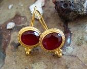 Roman Art Handmade Ruby Earrings Design by Ferimer 18k Yellow Gold Vermeil Over Sterling Silver
