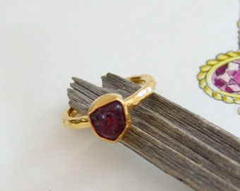 Rough Ruby Hammered  Stack Ring Designer By Ferimer 18k Gold Plated Over 925 K Sterling Silver **FREE SIZING**