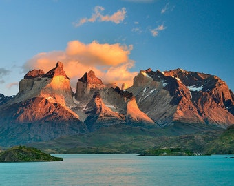 Landscape Photography, Nature Photography, Wall Decor, Chile, Torres Del Paine, Patagonia, Mountain, Lake, Sunrise, Island