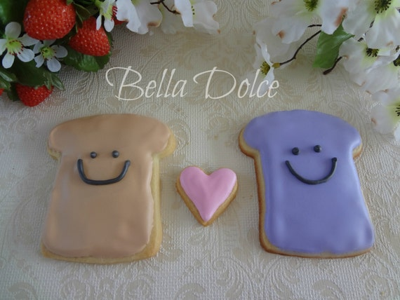 "Valentine **Special** ""We Go Together Like Peanut Butter and Jelly"" Cookies 1 Dozen (12 cookies) Valentine's Day - Heart - Gift"