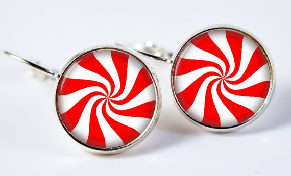 Peppermint Candy Earrings Glass Earrings Christmas in July Christmas Earrings Candy Cane Earrings (276)