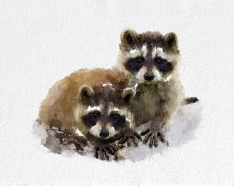 Raccoon Painting Art Print   Animal black white grey brown Home Decor  Wall Decor Kitchen Decor Beach Decor