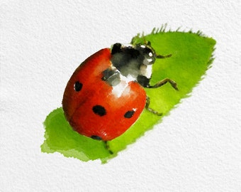 Ladybug Painting Art Print Animal Black White Green Red Home Decor Wall Decor Kitchen Decor Beach