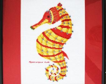 Yellow Seahorse Cross Stitch Kit