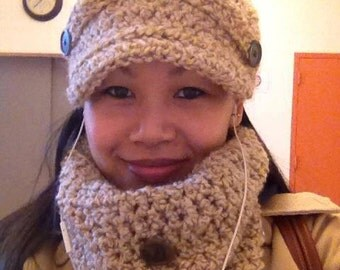Ribbed Newsboy Hat & Cowl Set