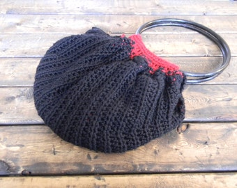 Crochet Fat Bottom Bag with Red Lining