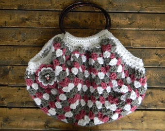Crochet Granny Square Purse with Lining and Flower Accent