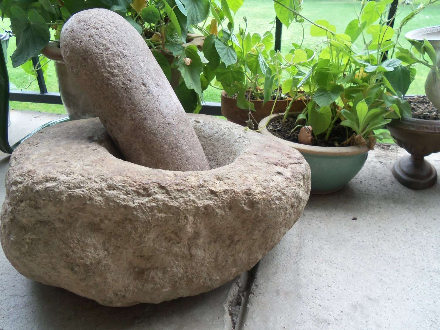 large native american stone mortar and pestle by bettyrayvintage. Black Bedroom Furniture Sets. Home Design Ideas
