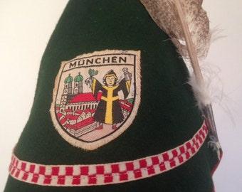 Munchen Hat//Robin Hood Felt Cap//Felt Vintage Hat