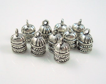 6MM End Cap, TEN Ornate Caps for Leather, Kumihimo or Cord, 6.5mmCap (CAP6-01)