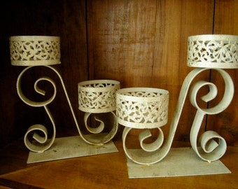 vintage pair of candleholders.Shabby chjc. Shelves mantel-table scape-