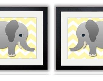Yellow Chevron Grey Elephant Nursery Art Nursery Print Set of 2 Elephants Child Art Prints Boy Kids Room Wall Art Nursery Decor Baby