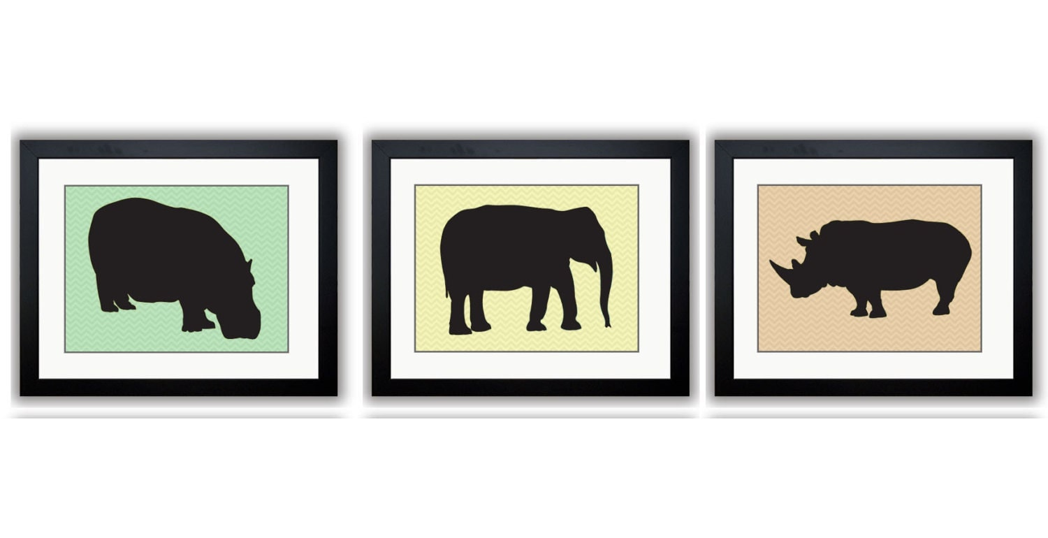 African Safari Animals Prints Pastel Green Yellow Orange Kids Room Art Nursery Art Chevron Set of 3