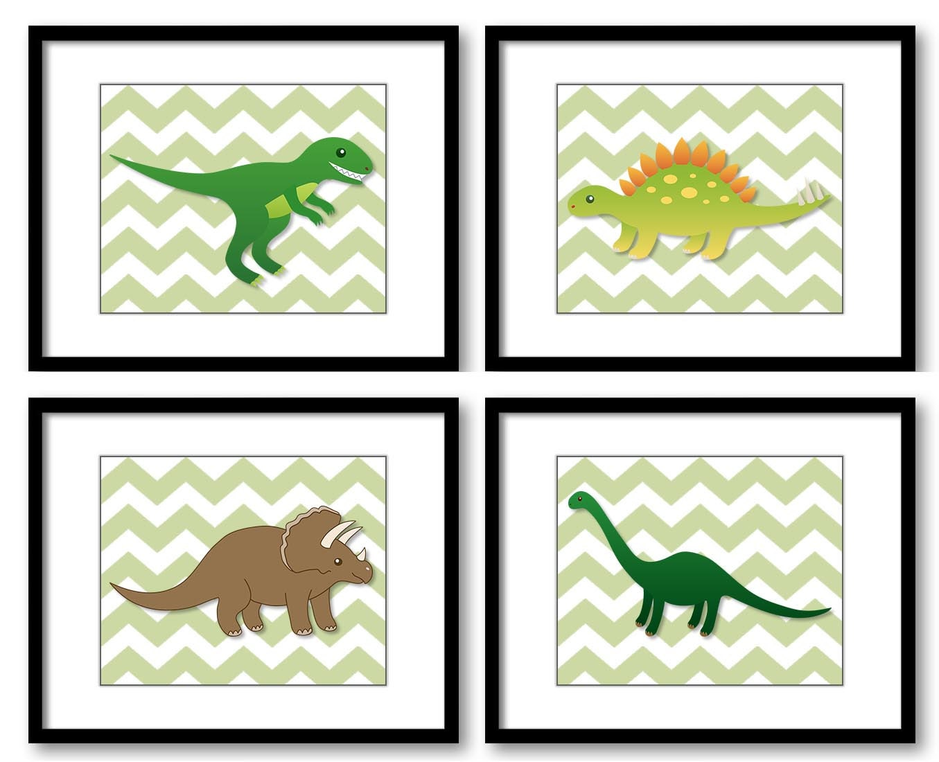 Dinosaur Nursery Art Chevron Nursery Print Set of 4 Dinosaurs Child Kids Children Art Boys Room Wall