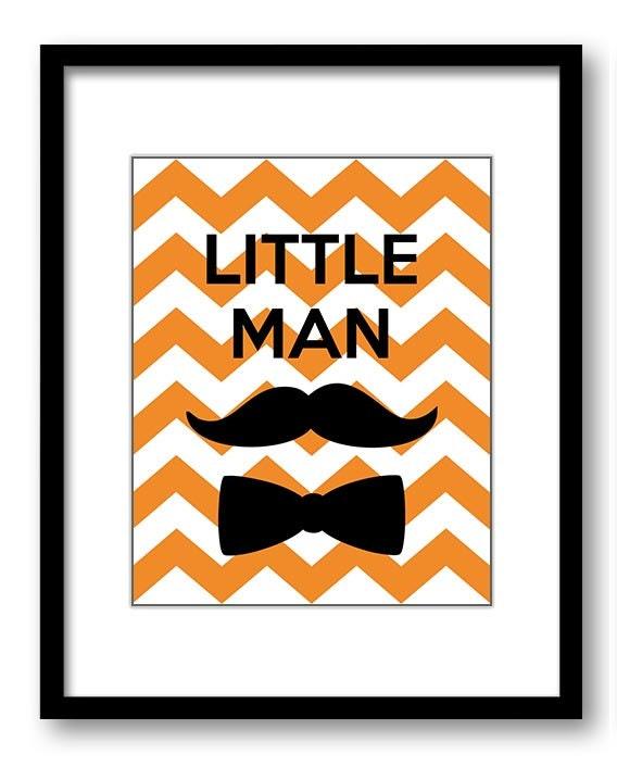 Orange Little Man Nursery Art Nursery Print Mustache Bowtie Child Baby Art Print Boy Kids Room Wall