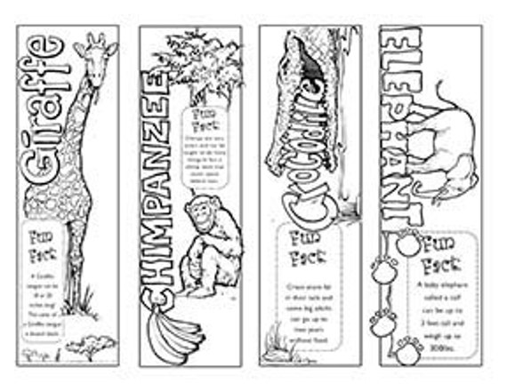 Jungle Animal Bookmarks To Color Yourself By Christian