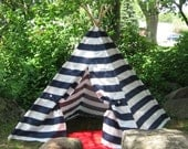Play Teepee, Kids Teepee Tent, Play Tent, NAVY AND WHITE Extra Wide Striped, Custom Order, Full Length Poles Included