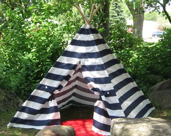 READY TO SHIP Kids Tent Teepee, Can Include Window, Wide Striped Navy and White Play Tent, Childrens Teepee, Poles Included