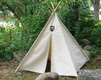 Owl Teepee, Canvas Teepee, Teepee, Kids Teepee, Tee Pee, Play Tent Kids Tent, Teepees, Playhouse, Childrens Teepee, Teepee Tent, Indoor Tent