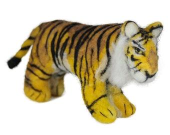 Needle Felted Tiger: Alpaca Ornament