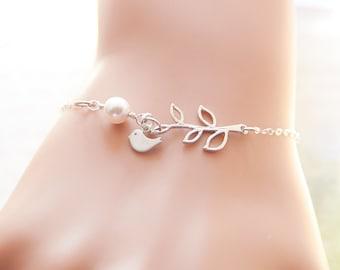Leaf Branch and Bird Charm Bracelet, Sterling Silver, Pearl Bracelet, Sisterhood, Mother Daughter, Friendship