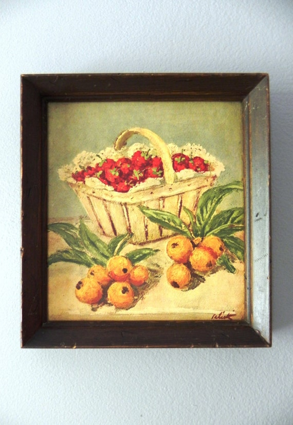 Vintage Fruit Wall Decor : Vintage s fruit kitchen framed wall art by