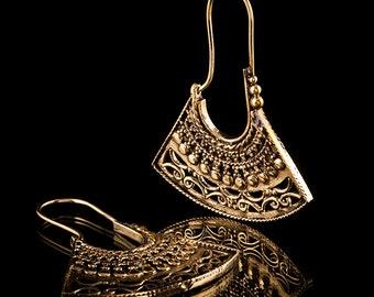 Triangular Filigree Brass Hoop Earrings, Tribal Earrings, Gypsy Hoop Earrings, Tribal Brass Earrings, Ethnic Jewelry (300)