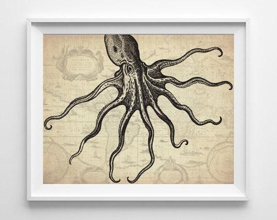 Antique Nautical Bathroom Ideas: Nautical Octopus Art Print Nautical Bathroom By