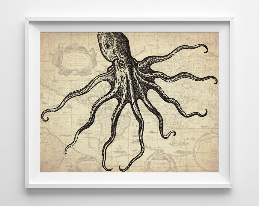 For Nautical Bathroom Art: Nautical Octopus Art Print Nautical Bathroom By