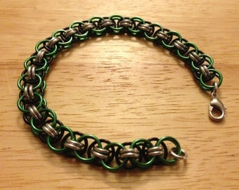 Green Black and Silver Helm Weave Chainmaille Bracelet