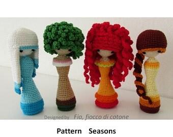 Pattern Seasons , miniature doll amigurumi crochet, princess doll, kokeshi doll, curly-haired doll, fashion doll