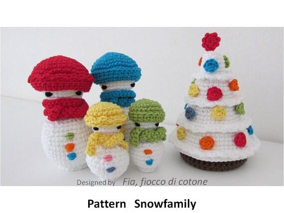 Items similar to Pattern Snowfamily , miniature doll ...