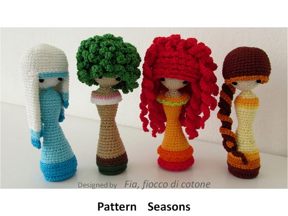 Crochet Mini Doll Pattern : Pattern Seasons miniature doll amigurumi crochet princess