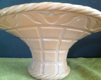 vintage basket wall hanging planter with tulip motif by Burwood (like Syroco)